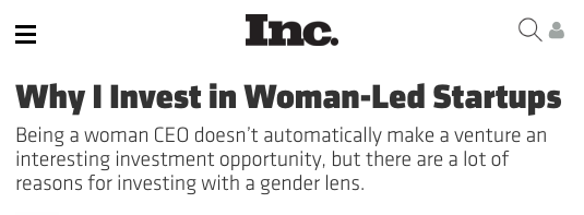Why I Invest in Woman-Led Startups